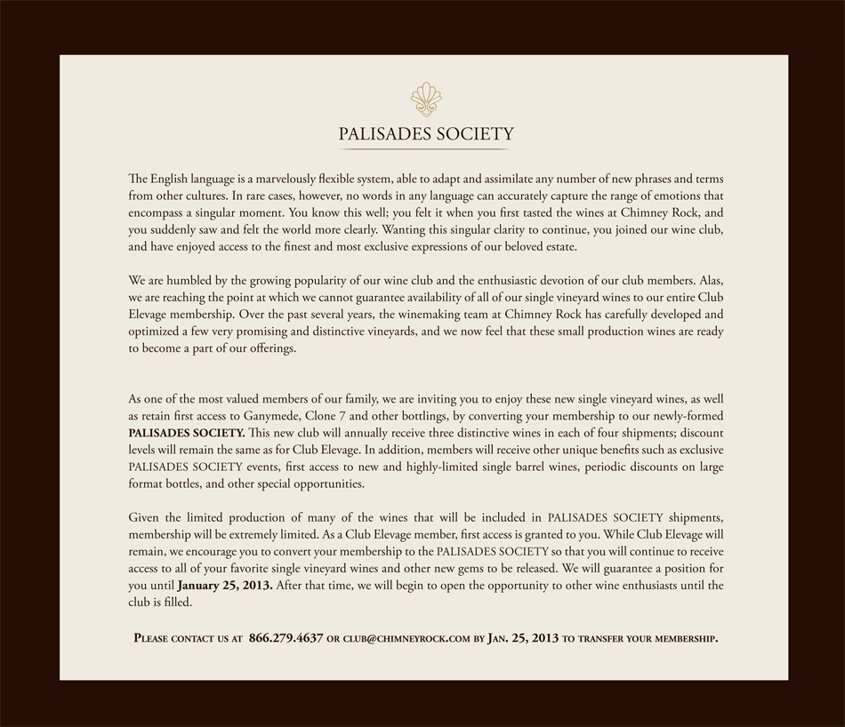Palisades Society letter